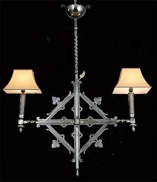 19th c. French wrought iron 2-light chandelier