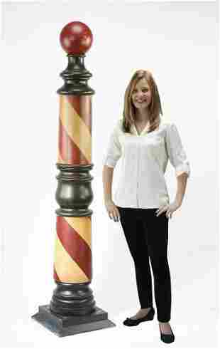 American paint-decorated wooden barber shop pole
