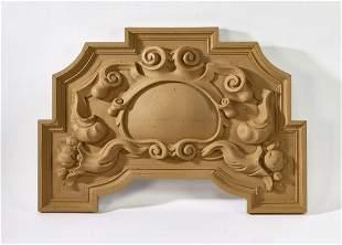 "Cast plaster architectural panel, 34""w"