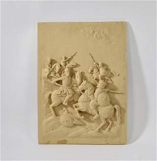 Architectural panel with battling kinghts