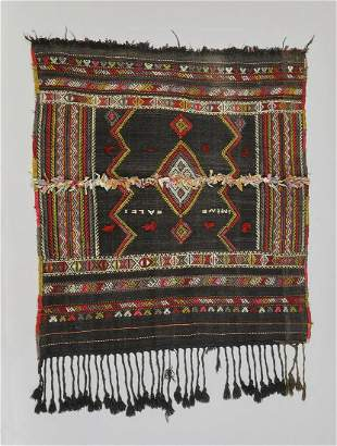 Signed, hand woven, Moroccan Berber horse blanket