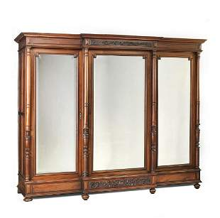 19th c. Louis XVI style walnut triple door armoire