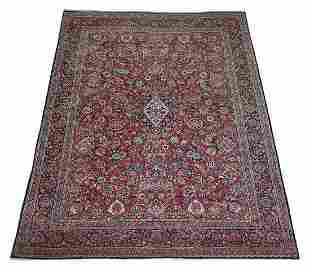 Hand knotted Persian Mashad carpet, 14 x 11