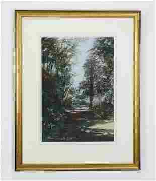 Mid-20th c. Elsie Dresch signed pastel landscape