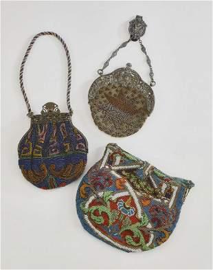 (3) Early 20th c. beaded purses