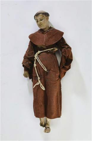 19th c. Spanish Santos figure of a monk
