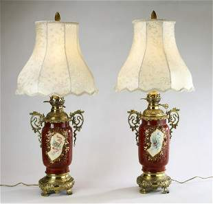 (2) Porcelain vases converted to table lamps
