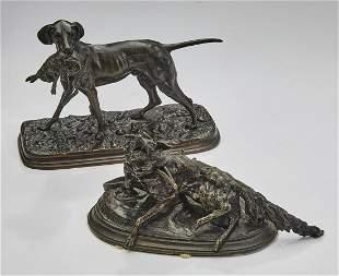 (2) Diminutive signed French animalier bronzes