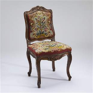 19th c. French oak side chair in needlepoint