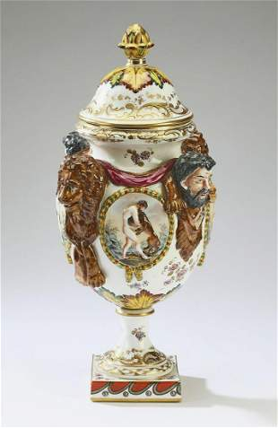 """Capodimonte style covered urn, 17""""h"""