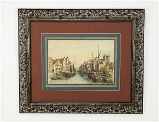 Early 20th c. Continental W/c canal scene