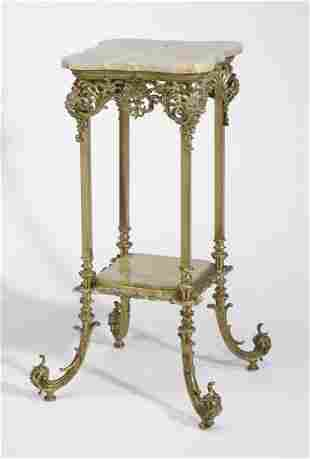 Continental onyx and gilt bronze etagere