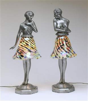 Pair of French Art Deco table lamps, art glass shades