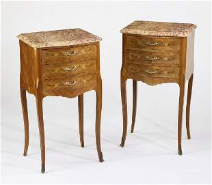 (2) Louis XV style marble top marquetry commodes