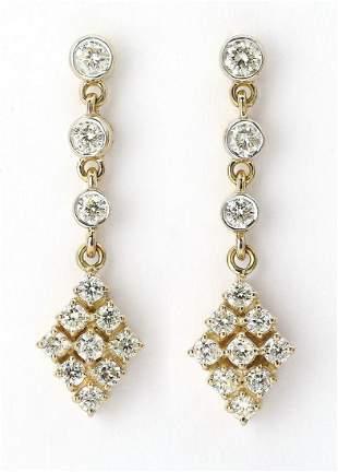 Diamond and 14k yellow gold ear pendants