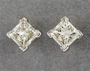 Diamond and 14k princess cut studs, 5mm stones
