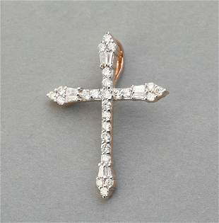Diamond and 14k rose gold cross pendant
