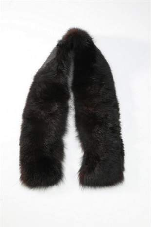 """Vintage fox fur collar with quilted lining, 53""""l"""