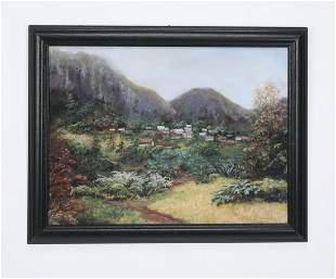Mid-20th c.Elsie Dresch pastel landscape with village