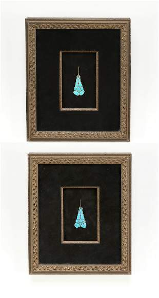 (2) Framed Chinese kingfisher feather hair ornaments