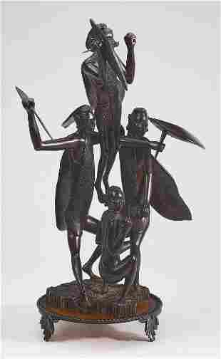 Kenyan hand carved wood sculpture of warriors