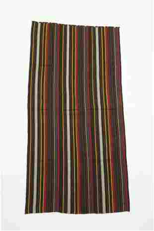 Hand woven Turkmen wool striped kilim, 7 x 3