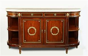 French Regency style bronze mounted marble top buffet