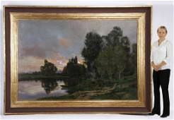 Monumental 19th c. French O/c river landscape