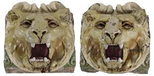 (2) 19th c. glazed American terracotta lion masks