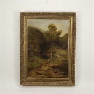 Signed Ernest Parton 'Angler's Eden' O/c landscape