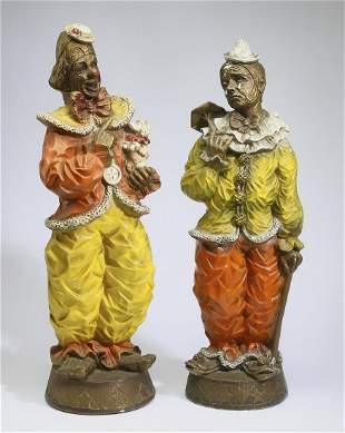 """(2) Vintage terracotta clown sculptures, 25""""h"""
