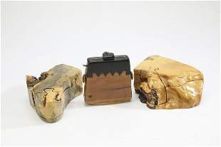 (3) Studio Movement carved wood puzzle boxes