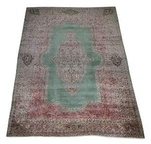 Hand knotted wool Persian Kerman, 12 x 20