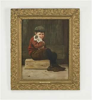 Signed Karl Witkowski O/c portrait of a boy and puppy