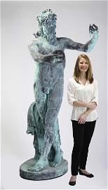 19th c. patinated bronze sculpture, 'Dancing Faun'