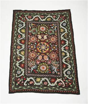 """Afghan hand embroidered suzani, 86""""l"""