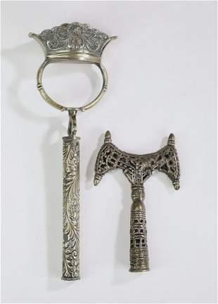 (2) Ethiopian Coptic reticulated staff finials