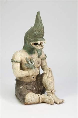 Polychrome majolica figure of Lono