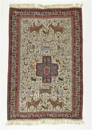 Hand woven Turkish figural horsemen soumak, 4 x 5