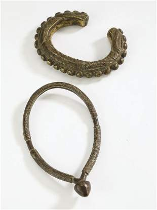 (2) Cote d'Ivoire bronze currency anklets