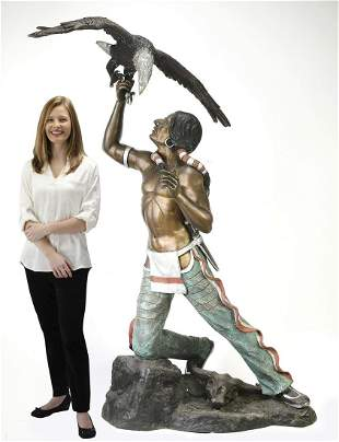 Life size bronze sculpture of a Native American