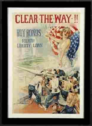 Circa 1917 WWI era War Bonds poster, framed