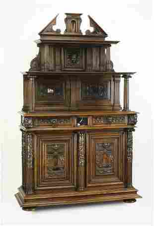19th c. French carved walnut marble top buffet