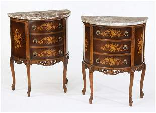 (2) French marquetry inlaid marble top commodes