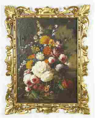 Early 20th c. French O/c still life w/ period frame