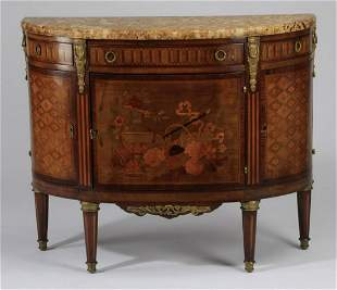 19th c. French inlaid marble top commode