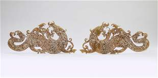 (2) Chinese carved jade dragon and pheonix plaques