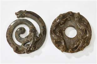 (2) Chinese carved jade dragon pendants