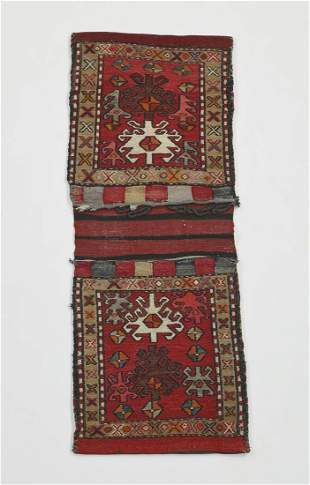Hand woven Persian wool soumak double saddle bag