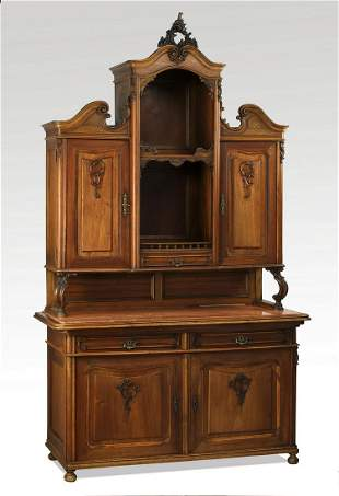 19th c. French carved walnut marble top cabinet